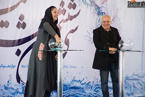 منيژه حکمت در آيين قرعه کشي جشنواره فجر 36