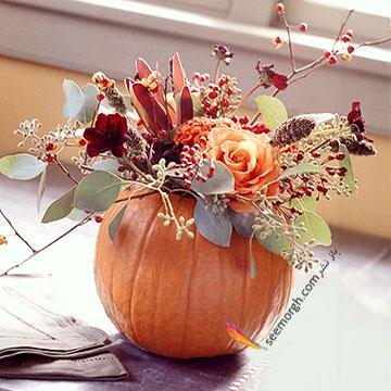 با کدو تنبل گلدان پاییزی درست کنید
