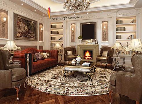 رنگ و طرح فرش مناسب برای ست کردن با مبلمان کلاسیک زعفرانی - عکس شماره 20