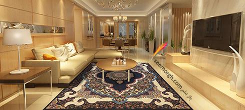 روکش مبل به رنگ کرم برای ست کردن با فرش سورمه ای درباری,ست کردن مبلمان وفرش,ست کردن مبلمان با فرش سورمه ای