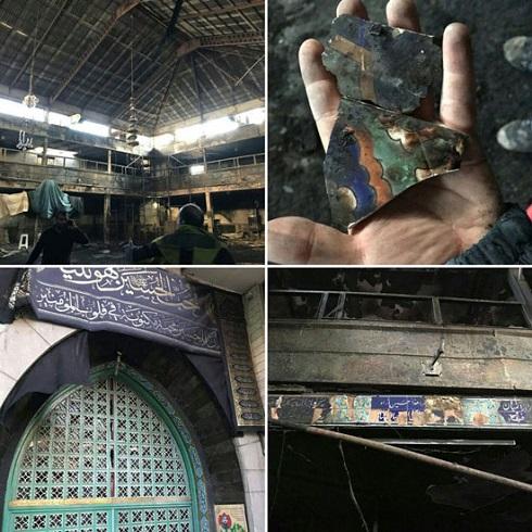 حسينيه درکه تهران در آتش سوخت