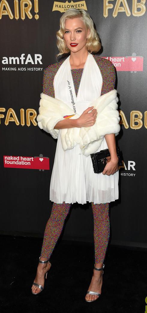 مدل لباس کارلی کلوس karlie kloss، به سبک مریلین مونرو Marilyn Monroe در هالووین 2017