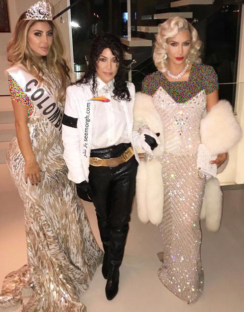 مدل لباس کیم کارداشیان Kim Kardashain و کورتنی کارداشیان kourteny kardashian به سبک مریلین مونرو و مایکل جکسون در هالووین 2017