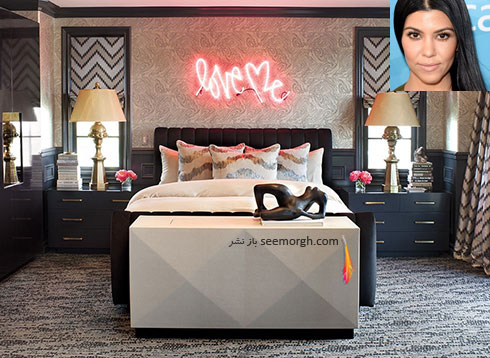 دکوراسیون اتاق خواب کورتنی کارداشیان kourtney kardashian
