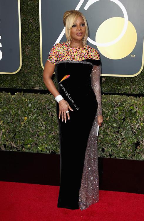 مدل لباس مری جی. بلایژ Mary J. Blige در مراسم گلدن گلوب 2018
