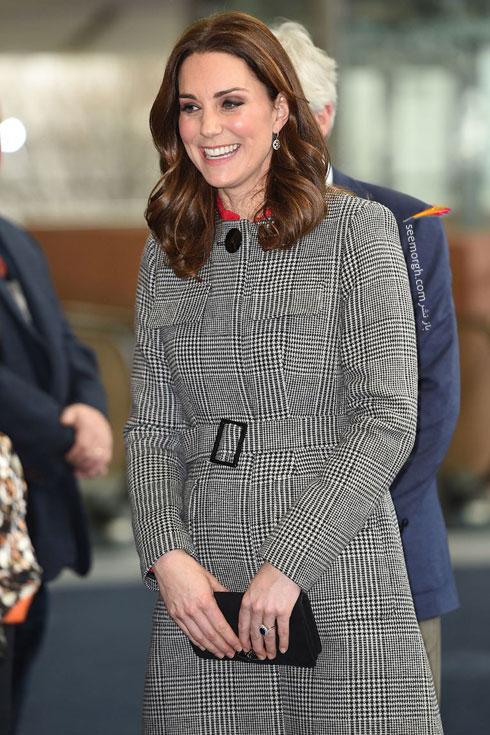 کیت میدلتون Kate Middletond یک پالتو طرح دار طوسی از برند L.K.Bennett پویشیده بود