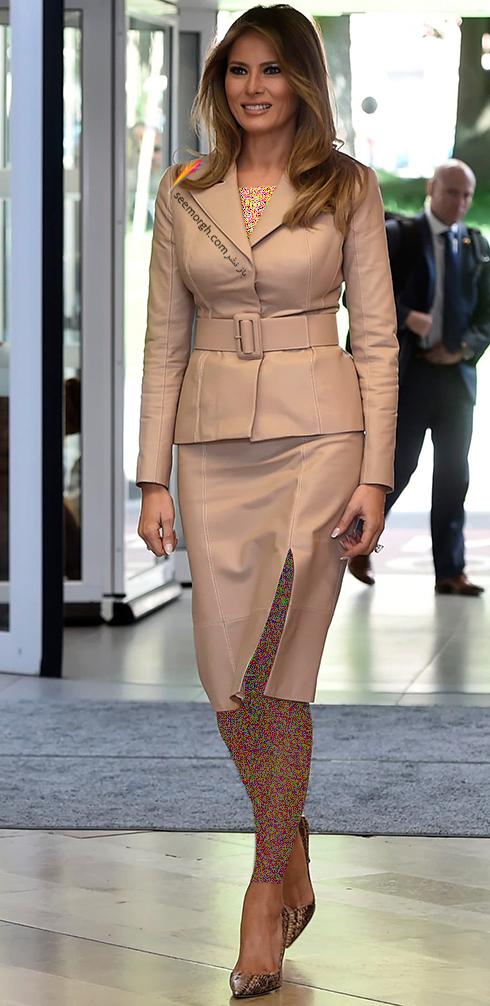 کت و دامن پاییزی به سبک ملانیا ترامپ Melania Trump - عکس شماره 4