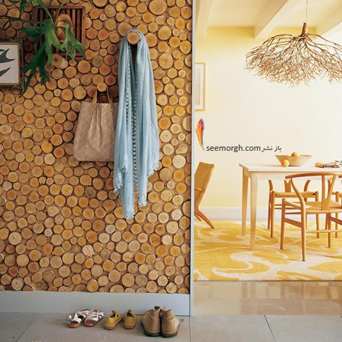 تزیین دیوار ساده با بریده های تنه درخت,تزیین دیوار,ایده هایی برای تزیین دیوار,مدل های تزیین دیوار