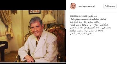 واکنش پرویز پرستویی به درگذشت نادر گلچین