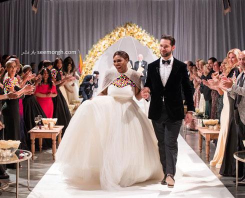 لباس عروس سرنا ویلیامز Serena Williams از طراحی های سارا بورتون Sarah Burton