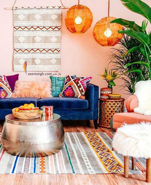 ست کردن کاغذ دیواری گلبهی با مبل و فرش مناسب - عکس شماره 5