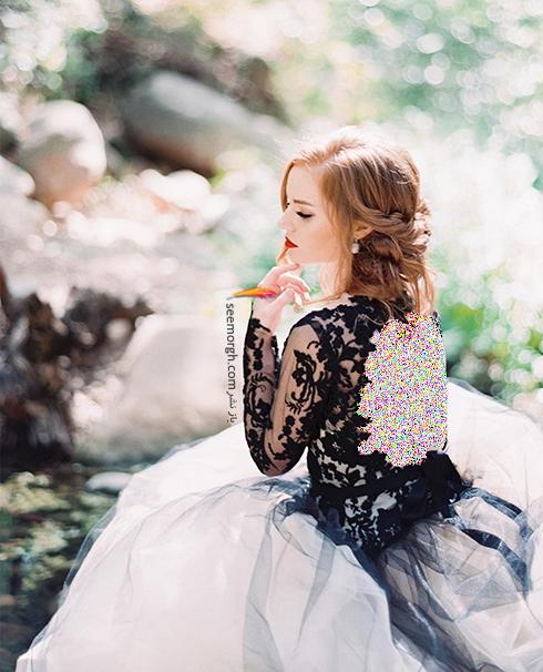 لباس عروس با ترکیب رنگی مشکی و سفید