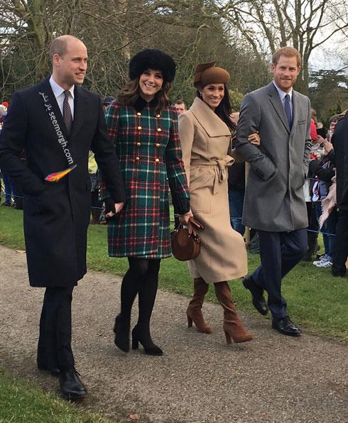 عکس پرنس هری و مگان مارکل Megan Markle و پرنس ویلیامز و کیت میدلتون Kate Middleton در روز کریسمس - عکس شماره 1