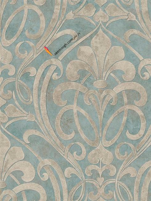 کاغذ دیواری برای ست کردن با فرش سبز فیروزه ای و مبلمان قهوه ای - عکس شماره 1