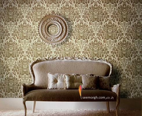 کاغذ دیواری برای ست کردن با فرش سبز فیروزه ای و مبلمان قهوه ای - عکس شماره 9