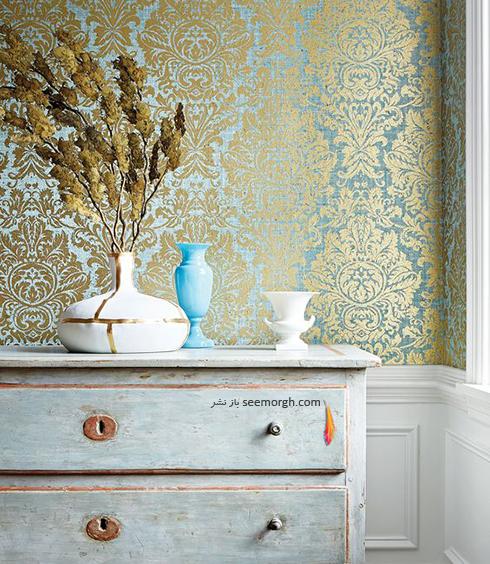 کاغذ دیواری برای ست کردن با فرش سبز فیروزه ای و مبلمان قهوه ای - عکس شماره 5