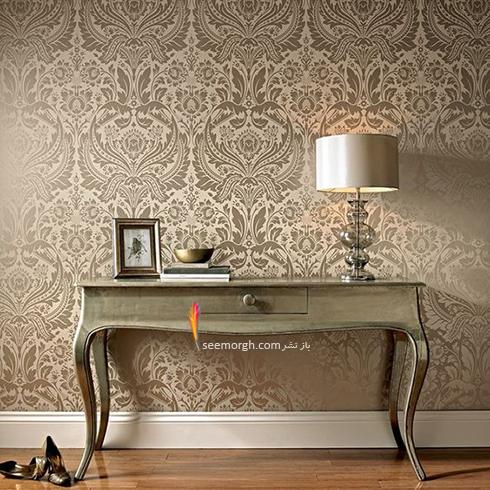 کاغذ دیواری برای ست کردن با فرش سبز فیروزه ای و مبلمان قهوه ای - عکس شماره 3