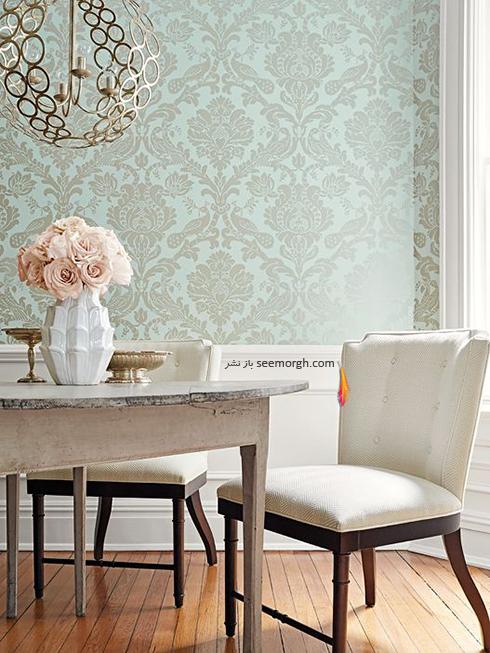 کاغذ دیواری برای ست کردن با فرش سبز فیروزه ای و مبلمان قهوه ای - عکس شماره 2