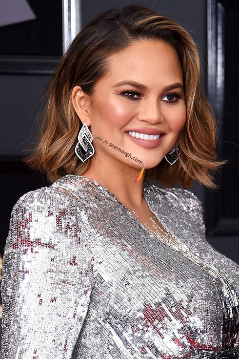بهترین مدل آرایش صورت در جایزه گرمی 2018 Grammy - کریسی تیگن Chrissy Teigen