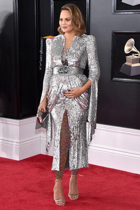 مدل لباس کریسی تیگن Chrissy Teigen در جایزه گرمی 2018 Grammy