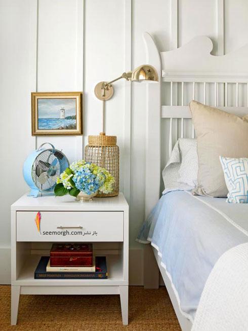 تزیین دیوار اتاق خواب با نوارهای چوبی باریک