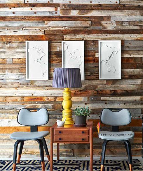 تزیین دیوار اتاق خواب با چوب های باریک