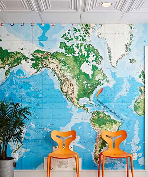 تزیین دیوار اتاق خواب با نقشه جهان