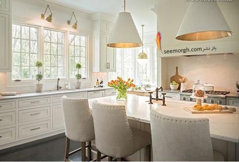 استفاده از فلزات مختلف در دکوراسیون آشپزخانه سفید
