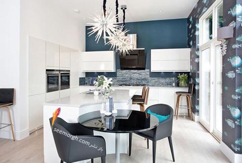 کاغذ دیواری در دکوراسیون آشپزخانه های سفید معجزه می کند