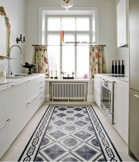 استفاده از کاشی های طرح دار در دکوراسیون آشپزخانه سفید