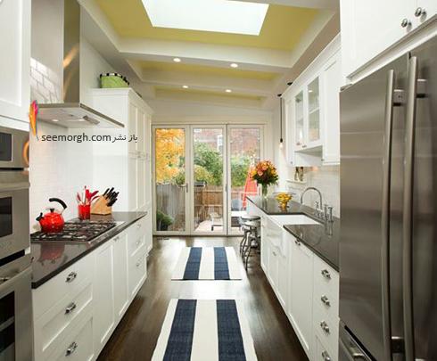 رنگ کردن سقف در دکوراسیون آشپزخانه های سفید