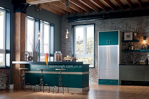 دکوراسیون آشپزخانه شماره 1 برای بهار 97 : آشپزخانه ای با کابینت های آبی و سبز