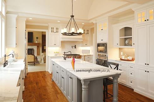 دکوراسیون آشپزخانه شماره 4 برای بهار 97 : آشپزخانه ای با ترکیب رنگی سفید و طوسی روشن
