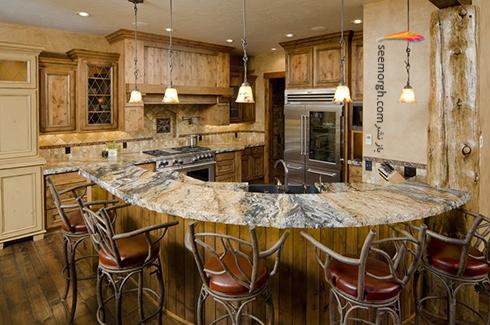 دکوراسیون آشپزخانه شماره 5 برای بهار 97 : آشپزخانه ای با تلفیق سنگ مرمر و چوب