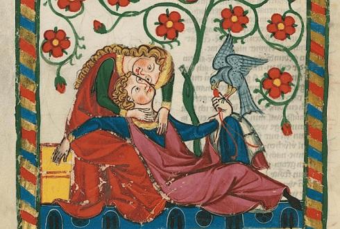 مرغ عشق در نسخه قدیمی از قرن ۱۴