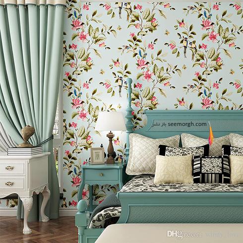 کاغذ دیواری با گل های بهاری صورتی