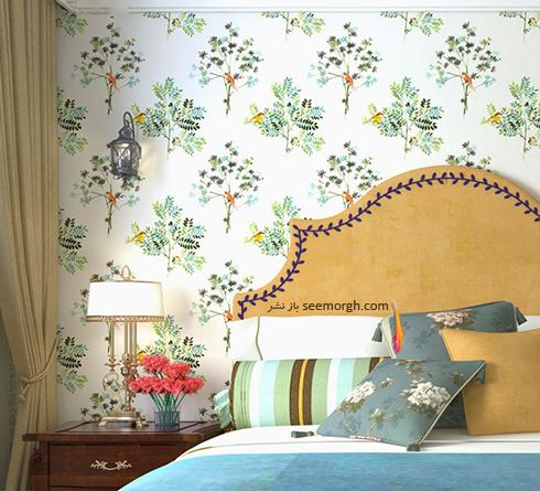 کاغذ دیواری با طرح گلهای سبز رنگ