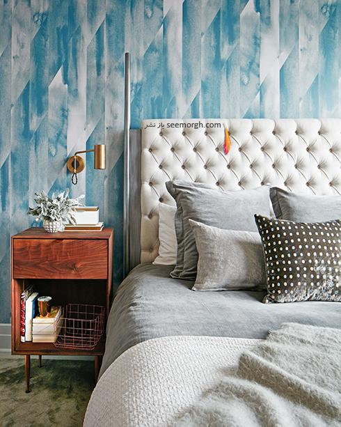 کاغذ دیواری سه بعدی با ترکیب رنگی سفید و آبی