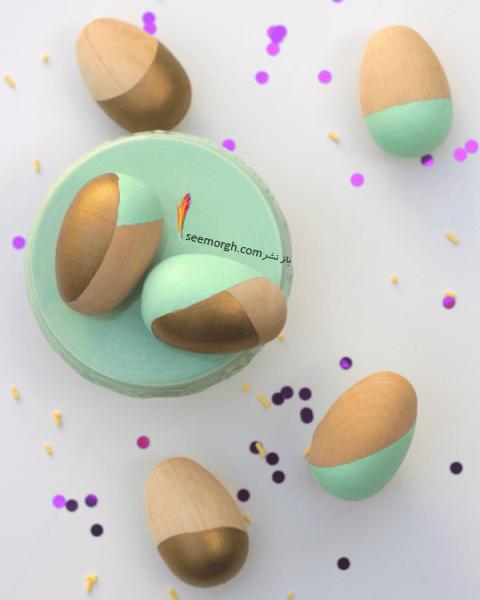تزیین تخم مرغ هفت سین با آب رنگ و گواش - مدل شماره 7