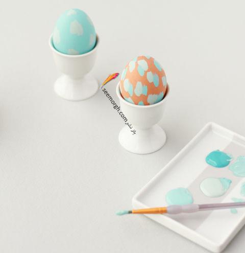 تزیین تخم مرغ هفت سین با آب رنگ و گواش - مدل شماره 5