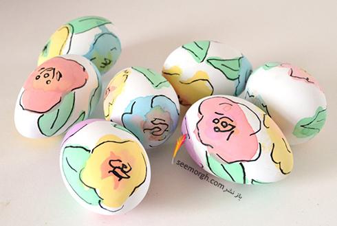 تزیین تخم مرغ هفت سین با آب رنگ و گواش - مدل شماره 10