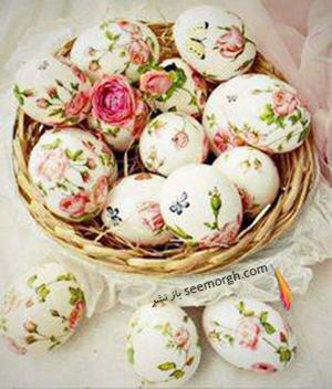 تزیین تخم مرغ هفت سین با دستمال کاغذی طرح دار - مدل شماره 5