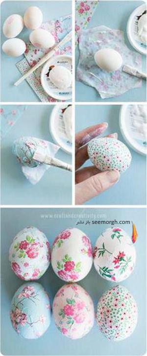 تزیین تخم مرغ هفت سین با دستمال کاغذی طرح دار - مدل شماره 6