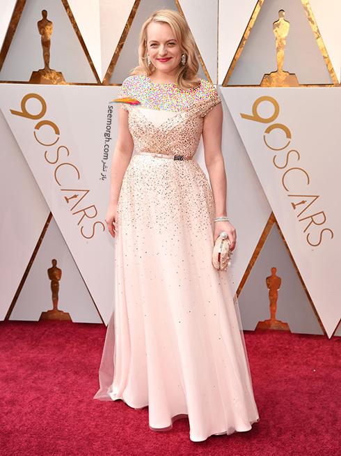 بدترین مدل لباس در مراسم اسکار 2018 Oscar - الیزابت ماس Elisabeth Moss