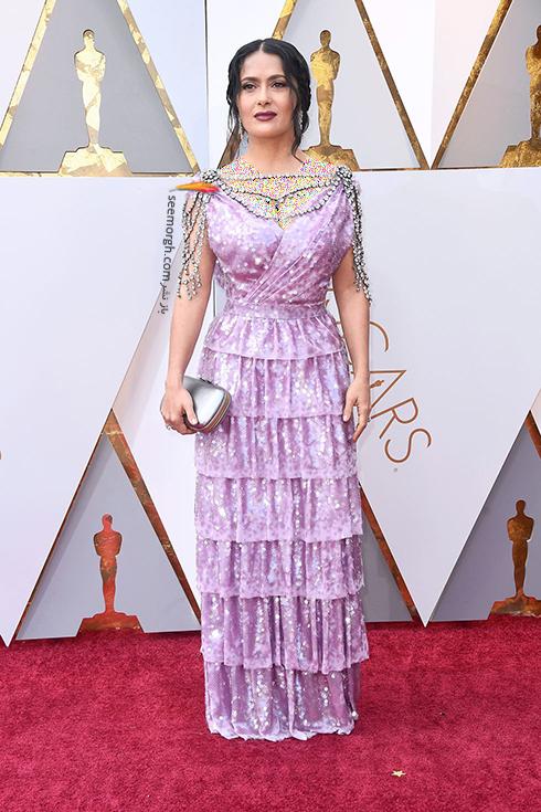 بدترین مدل لباس در مراسم اسکار 2018 Oscar - سلما هایک Salma Hayek