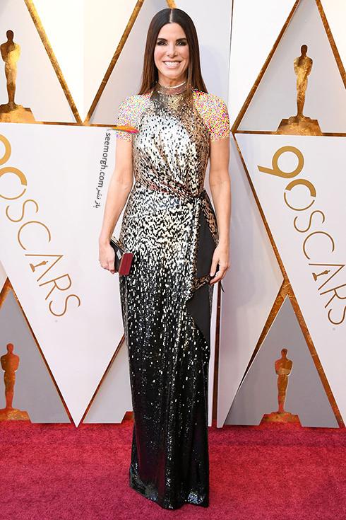 بدترین مدل لباس در مراسم اسکار 2018 Oscar - ساندرا بولاک Sandra Bullock