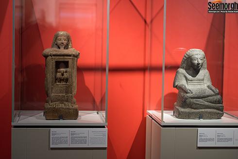 مجسمه های کاتبان مصری در موزه ملی ایران در نمایشگاه موقت لوور کوچک در تهران