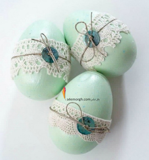 تزیین تخم مرغ هفت سین با تور و بافتنی - مدل شماره 6