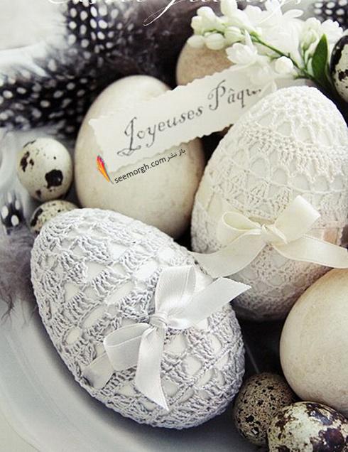تزیین تخم مرغ هفت سین با تور و بافتنی - مدل شماره 4