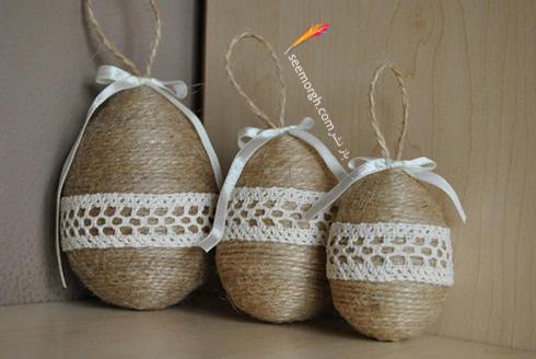 تزیین تخم مرغ هفت سین با تور و بافتنی - مدل شماره 7